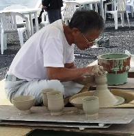 ロクロ陶芸の実演